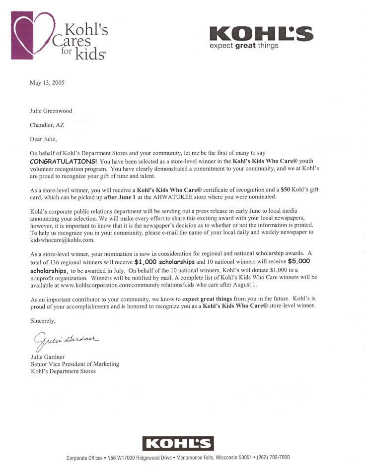 letter for scholarship recipient